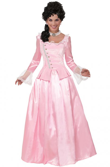 Pink Colonial Maiden Adult Costume - PureCostumes.com