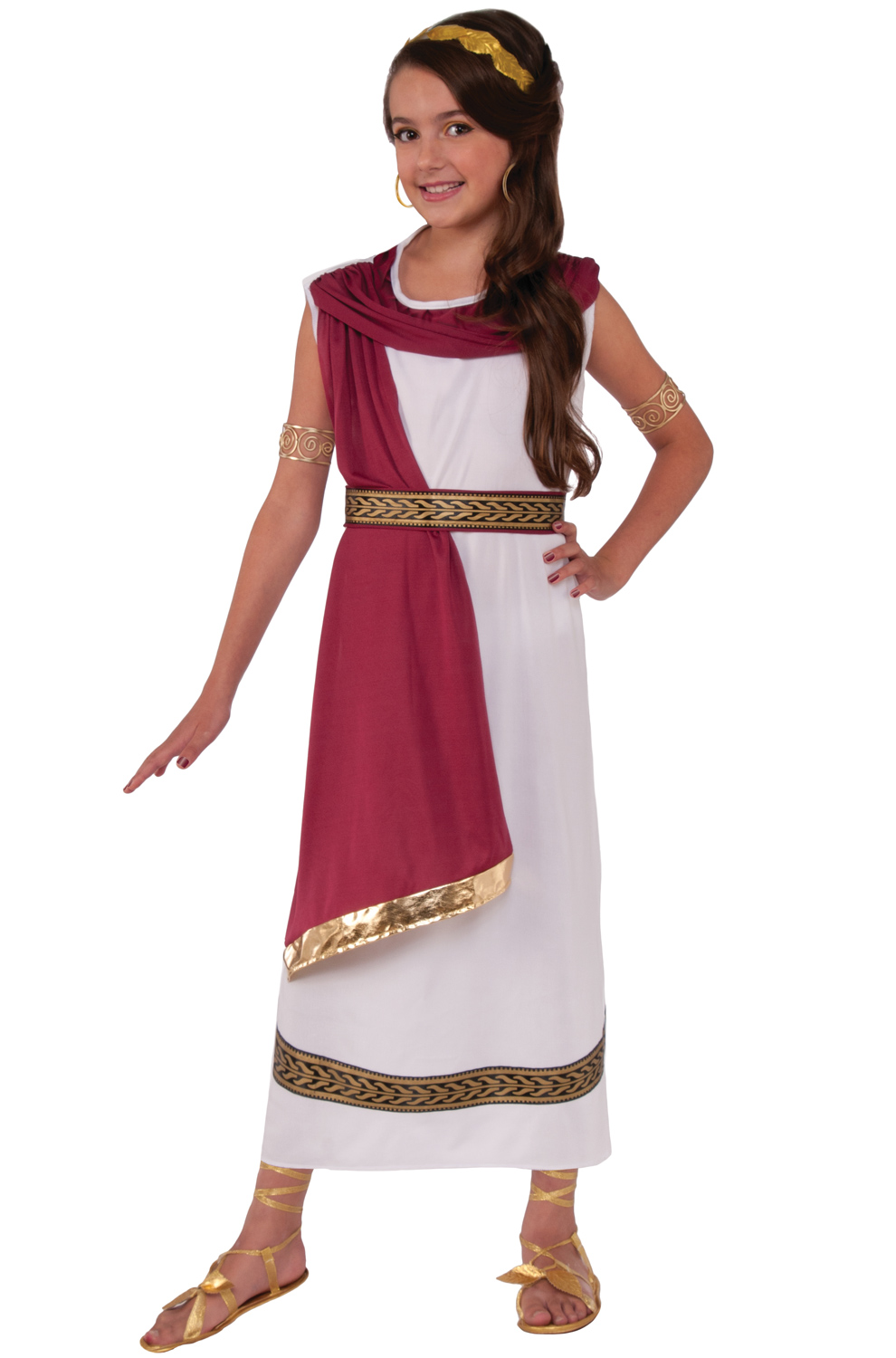 Ruby Greek Goddess Child Costume (Medium) - PureCostumes.com