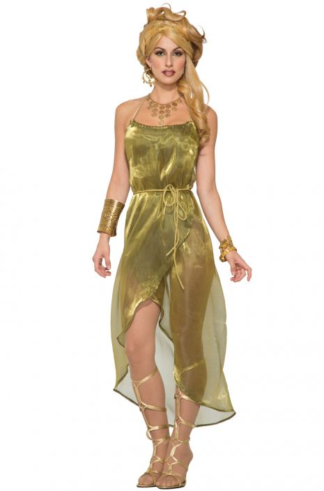 Gold Toga Dress Adult Costume  sc 1 st  Pure Costumes & Gold Toga Dress Adult Costume - PureCostumes.com