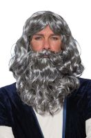 Biblical Adult Wig & Beard Set (Grey)
