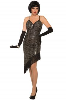 twilight black sequin flapper adult costume
