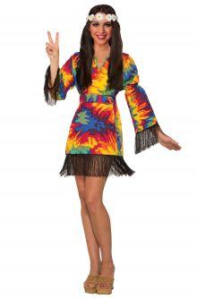 58bd4d572f7 Hippie Tie Dye Dress Adult Costume