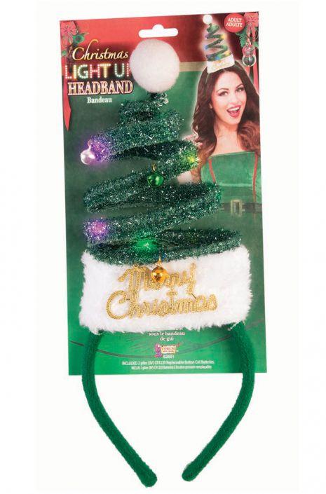 Light Up Christmas Tree Headband Green