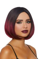 Mid-Length Ombre Bob Wig (Black/Burgundy)