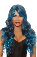 Long Wavy Ombre Layered Wig (Steel Blue/Bright Blue)