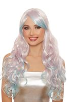 Long Wavy Ombre Layered Wig (Pale Lilac/Light Blue)