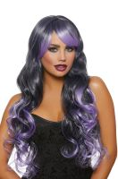 Long Wavy Ombre Layered Wig (Black/Lavender)