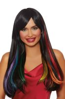 Long Straight Hidden Rainbow Wig (Black)