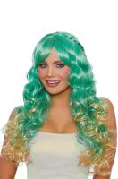 Long Wavy Ombre with Halo Braids Wig (Green/Honey)