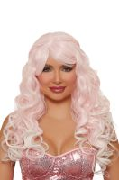 Long Wavy Ombre with Halo Braids Wig (Light Pink/White)