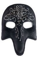 Venetian Filigree Zanni Mask (Black/White)