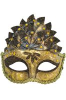 Colombina Leaf Venetian Mask (Brown)