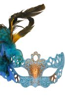 Lady Bella Venetian Mask (Sky Blue)