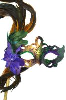 Flirty Feathers Mardi Gras Stick Mask (Gold)