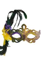 Flirty Feathers Mardi Gras Stick Mask (Green)