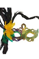 Flirty Feathers Mardi Gras Stick Mask (Purple)