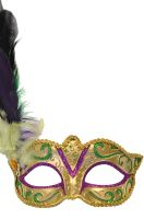 Madame Mardi Gras Mask (Gold/Green/Purple)