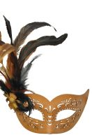 Feathered Divinity Masquerade Mask (Light Brown)