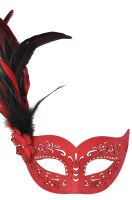 Feathered Divinity Masquerade Mask (Red)