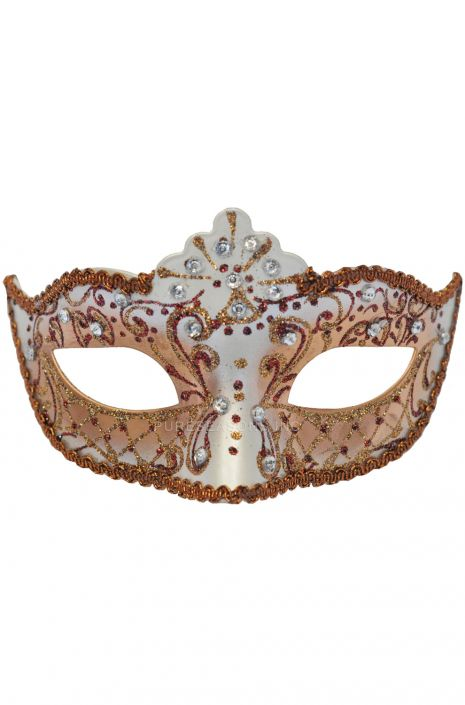 Bejeweled Venetian Mask (Red) - PureCostumes.com