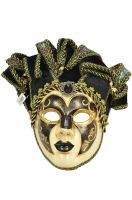 Jolly Paper-Mache Full Mask (Black)