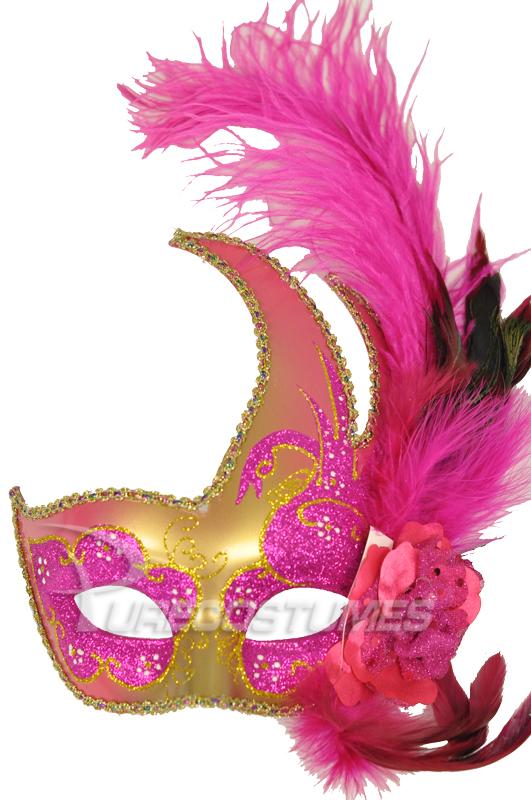Mardi Gras Swan Mask Hot Pink Gold Purecostumes Com