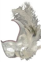 White Swan Crescent Mask (White/Silver)