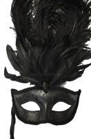 Colombina Vanity Fair Venetian Mask (Black/Black)