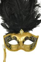 Colombina Vanity Fair Venetian Mask (Black/Gold)