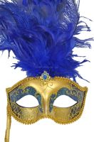 Colombina Vanity Fair Venetian Mask (Blue)