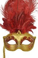 Colombina Vanity Fair Venetian Mask (Deep Red)