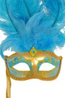 Colombina Vanity Fair Venetian Mask (Light Blue/Gold)