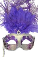 Colombina Vanity Fair Venetian Mask (Purple/Silver)