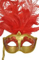 Colombina Vanity Fair Venetian Mask (Red/Gold)