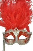 Colombina Vanity Fair Venetian Mask (Red/Silver)