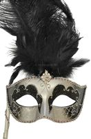 Colombina Vanity Fair Venetian Mask (Black/Silver)