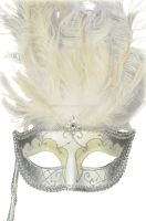 Colombina Vanity Fair Venetian Mask (White/Silver)