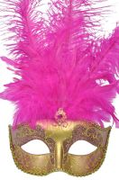 Colombina Festa Venetian Mask (Hot Pink/Gold)