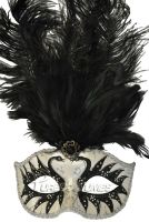 Colombina Swan Princess Feather Mask (Black)