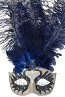 Colombina Swan Princess Feather Mask (Blue)