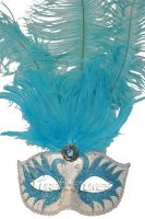 Colombina Swan Princess Feather Mask (Light Blue)