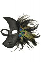 Glittery Night Peacock Mask (Black)