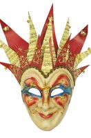 Jester Musica Paper-Mache Mask (Red/Red)