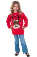 Red Reindeer Sweater Child Costume