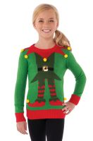 Green Elf Sweater Child Costume