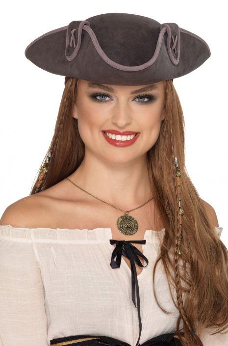 71598612794b4 Tricorn Pirate Captain Hat (Grey) - PureCostumes.com