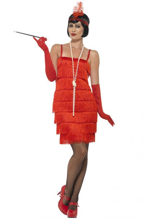 f694f42873 Short Flapper Dress Adult Costume (Red) - PureCostumes.com