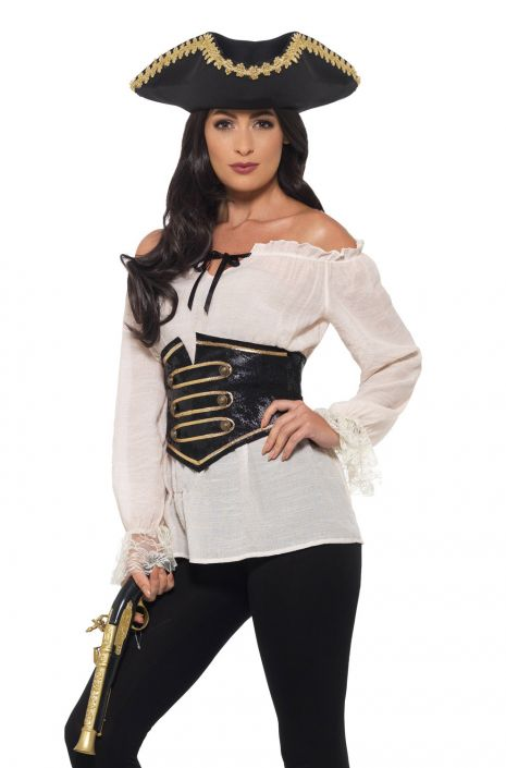 Deluxe Pirate Shirt Adult Costume Ivory