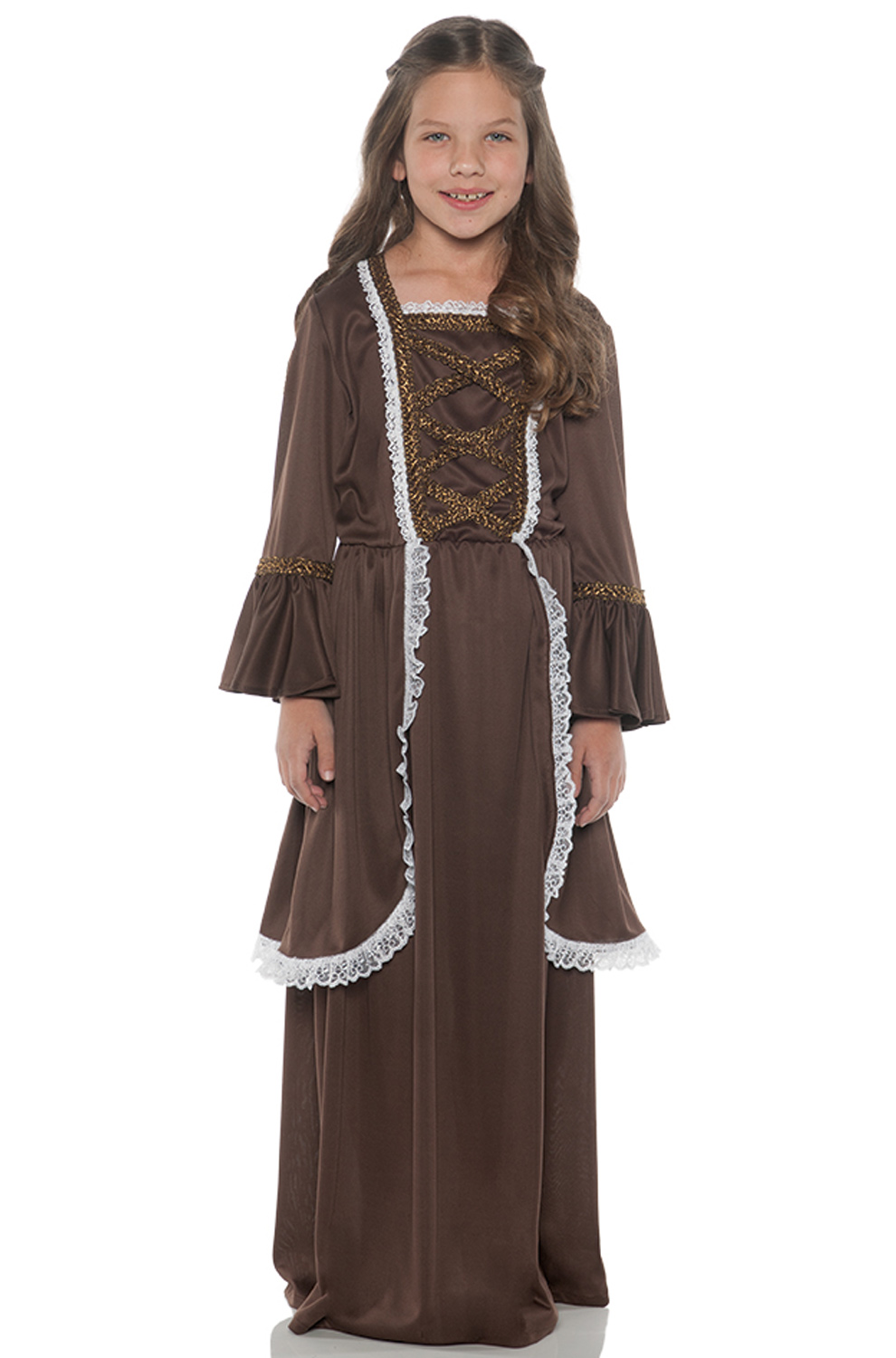 Colonial Girl Brown Child Costume Purecostumes Com