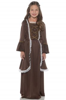 Kids Students School Projects Presentations Colonial Girl Brown Child Costume